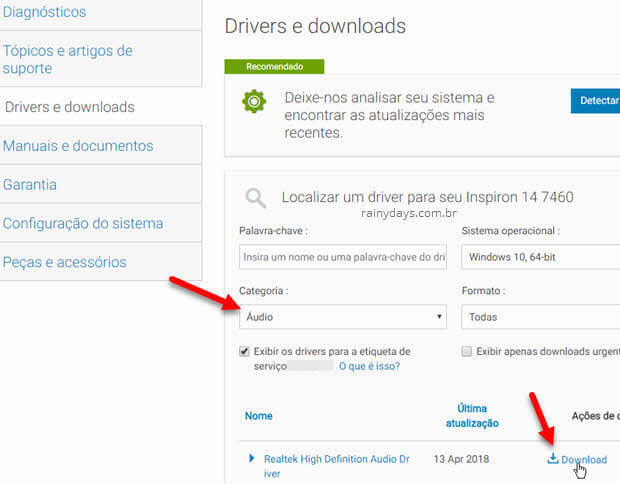 Download de manuais e drivers Dell